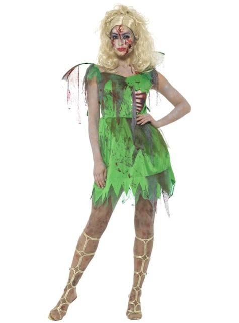 Disfraz de Campanilla zombie para mujer