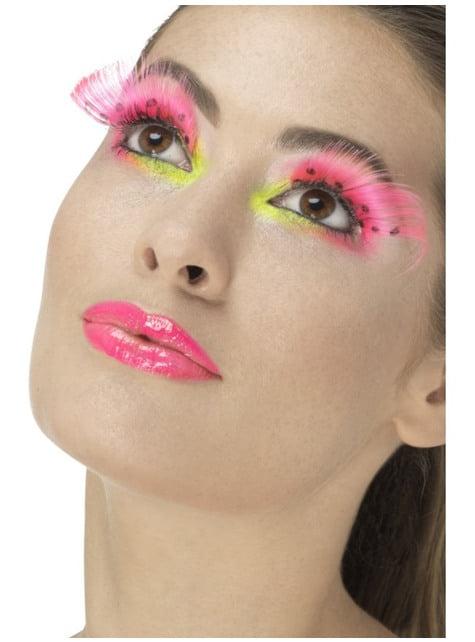 Women's pink eyelashes with black polka-dots
