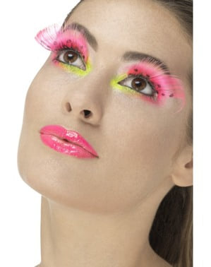 Women's pink eyelashes with black polka-dots