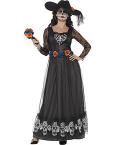 Disfraz de novia oscura de el día de los muertos para mujer
