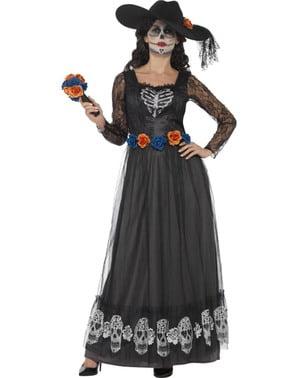 Kostium panny młodej z Dia de los Muertos ciemny damski