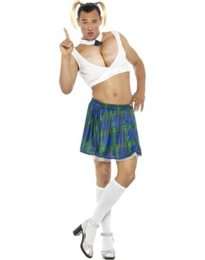Men's busty schoolgirl costume