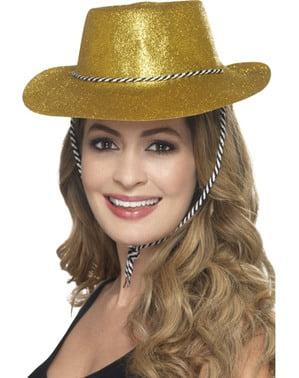 Chapéu cowboy dourado com purpurina para adulto