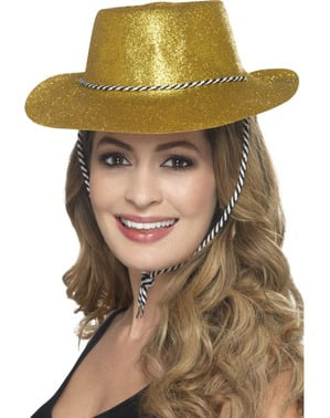 Sombrero vaquero dorado con purpurina para adulto