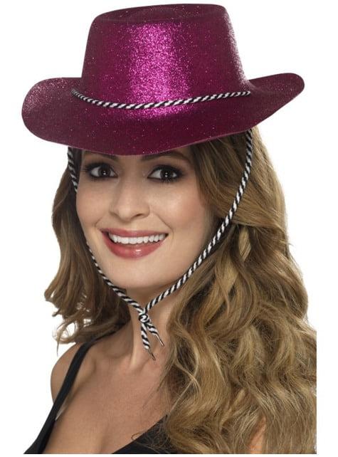 Sombrero vaquero rosa con purpurina para adulto
