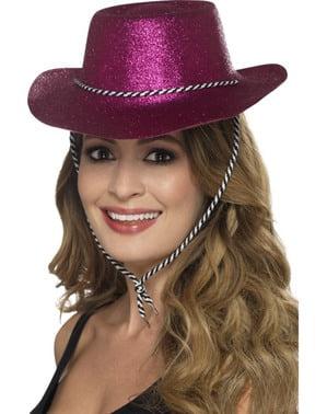 Chapéu cowboy cor-de-rosa com purpurina para adulto