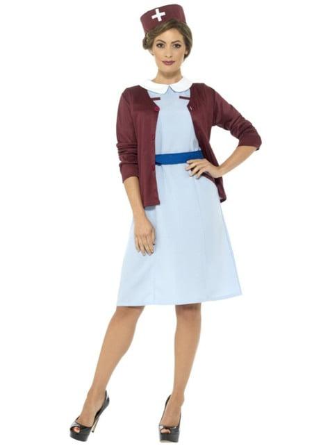 Blå vintage sygeplejerske kostume til kvinder
