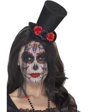 Catrina hat headband with roses and veil