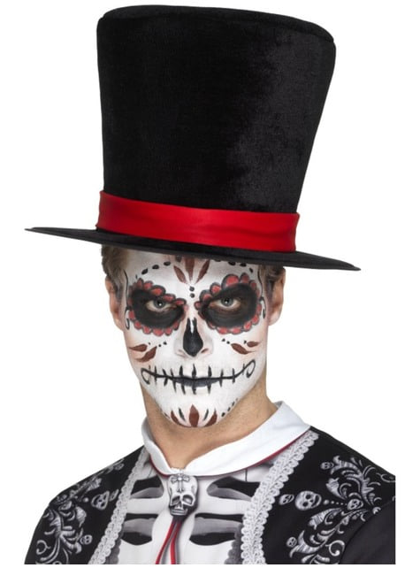 Sombrero de copa del día de los muertos para adulto
