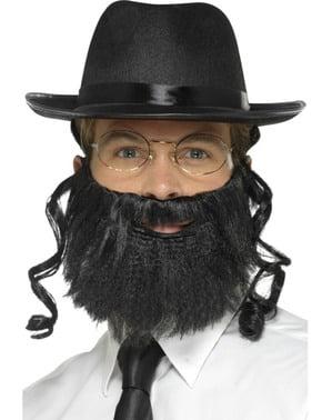 Rabbiner Hut schwarz mit Bart und Brille für Erwachsene