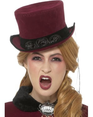 Dark red Victorian vampire hat