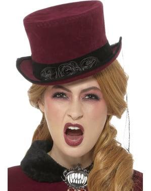 Tmavě červený Viktoriánský upíří klobouk