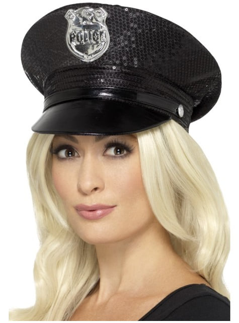 Gorra de policía fever negra para mujer