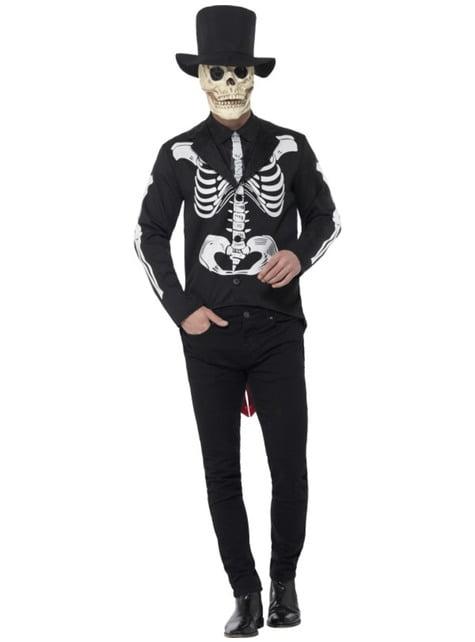 Disfraz de señor esqueleto elegante para hombre