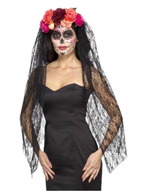 Véu preto com toucado floral de Catrina para mulher