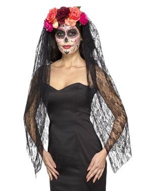 Črna katrina s cvetličnim pokrivalom za ženske