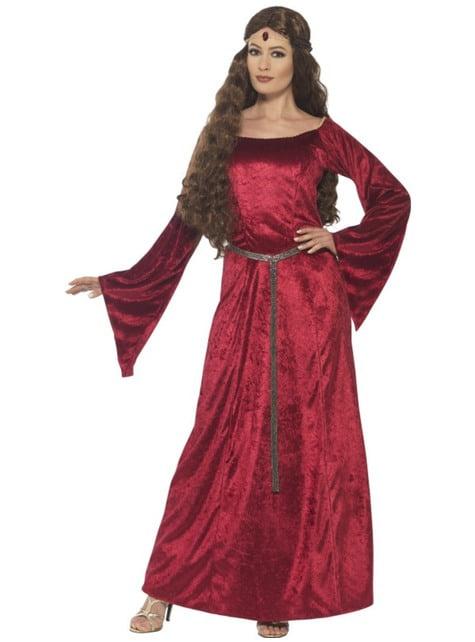 Disfraz de princesa del medievo granate para mujer