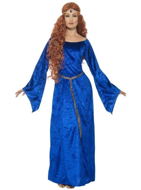Disfraz de princesa del medievo azul para mujer