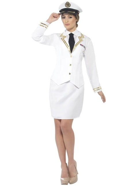 Fato de capitã de barco elegante para mulher