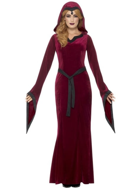 Vampirin Kostüm aus Samt granatrot für Damen