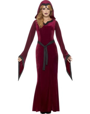 Mørke rød fløyel vampyrinne kostyme ofr damer