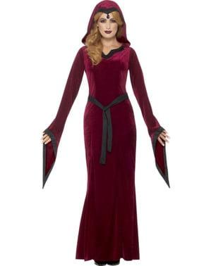 女性の濃い赤のベルベットの吸血鬼の衣装