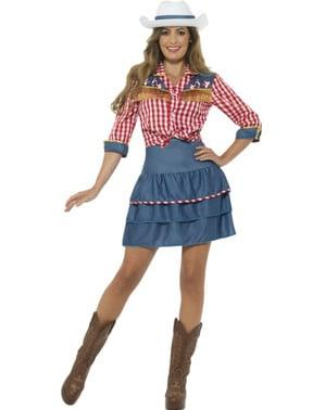 Fato de cowboy de rodeio para mulher
