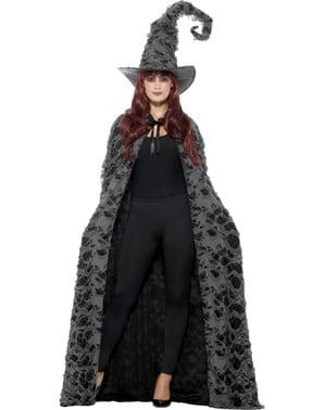 Capa de bruxa cinzenta e preta para adulto