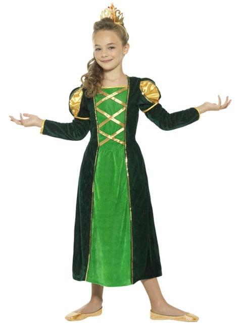 Maskeraddräkt prinsessa medeltida skimrande för flicka