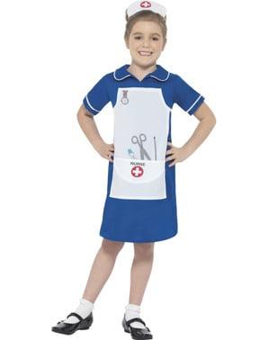 Verpleegster kostuum blauw voor meisjes