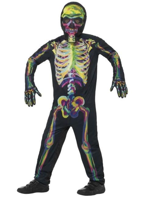 Déguisement squelette multicolore fluorescent enfant