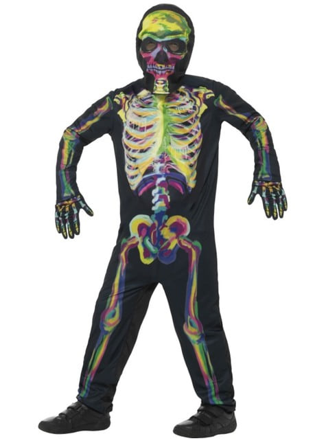 Kids multicolour fluorescent skeleton costume