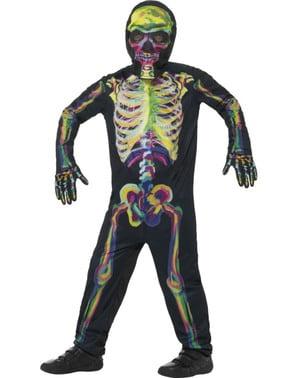 Fato de esqueleto multicolor fluorescente infantil