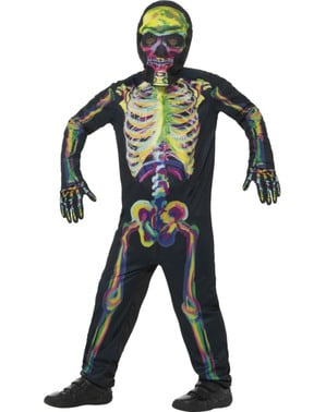 Kids multicolour fluorescent skeleton costume