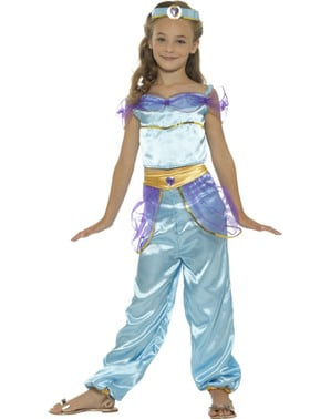 Blå Arabisk Prinsesse Kostyme til Jenter