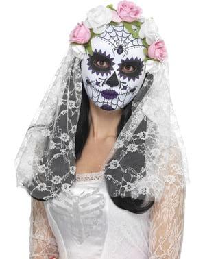 Máscara de noiva Catrina com véu