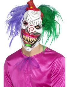 Máscara de payaso psicópata multicolor de látex para adulto