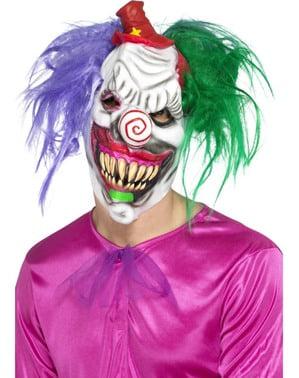 Mehrfarbige Maske psychopatischer Clown aus Latex für Erwachsene