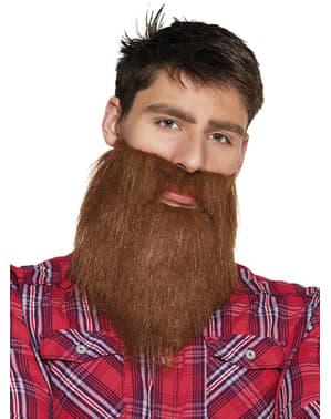 Brązowa sztuczna broda hipster dla mężczyzn