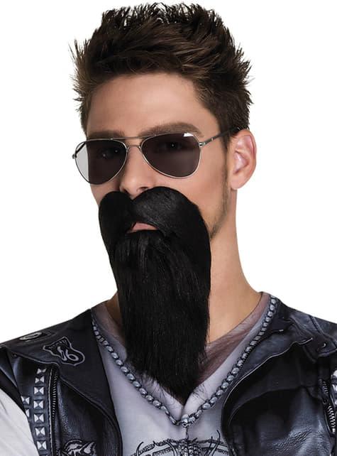 Barba morena de motero malote para adulto