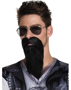Barbă brunetă de motociclist dur pentru adult