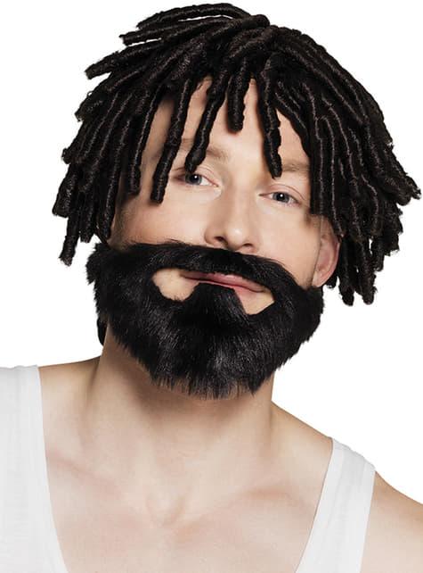 Barba morena de jamaicano para adulto