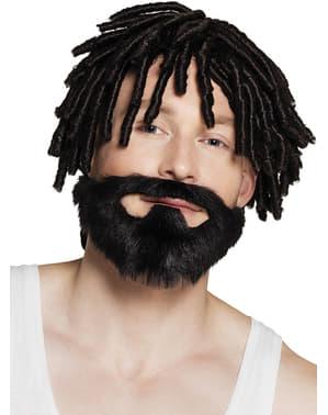 Barbă brunetă de jamaican pentru adult