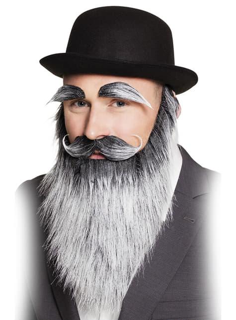 Barbe, moustache et sourcils grisonnants vieillard adulte
