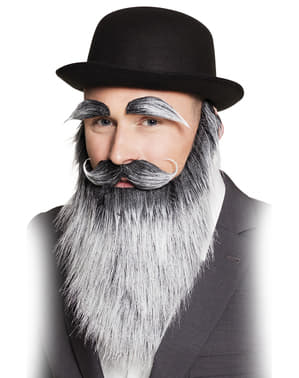 Set barbă, mustață și sprâncene cu fire albe de bătrânel pentru adult