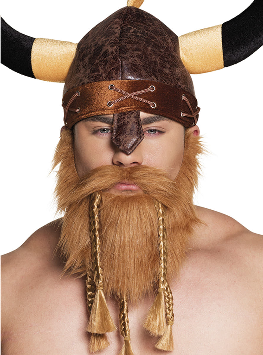 mens redheaded viking beard with braids  express delivery