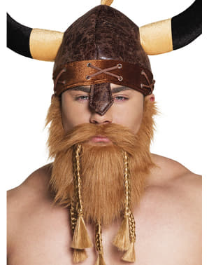 Rødhåret Vikingskjegg med fletter for menn