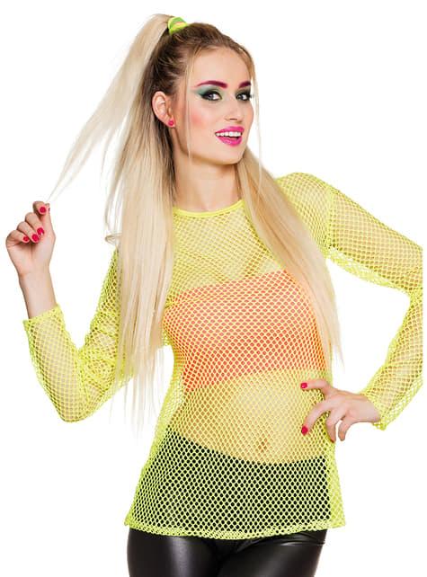 Camiseta de rejilla amarillo neón para mujer