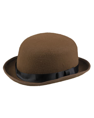 Brun Steampunk bowlerhat til voksne