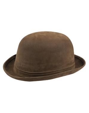 Ruskea mokkanahkainen Höyrypunk-hattu